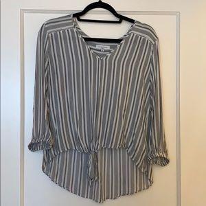 Black and white stripe v-neck blouse
